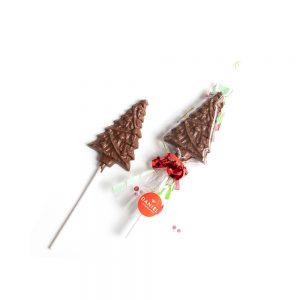 Christmas Tree Chocolate Lollipops - Milk, 2pc