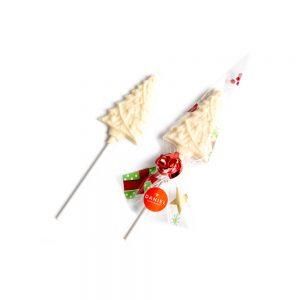 Christmas Tree Chocolate Lollipops - White, 2pc