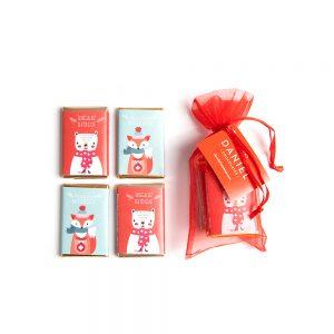 Organza Bag with Mini Chocolate Bars, 4pc